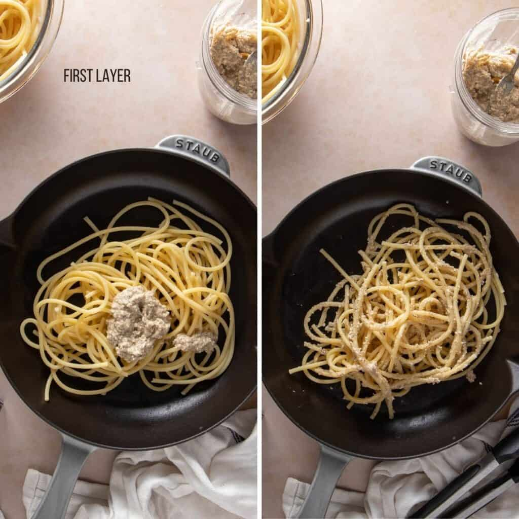 Collage showing the first layer of pasta with the cheese sauce on it (before and after mixing)