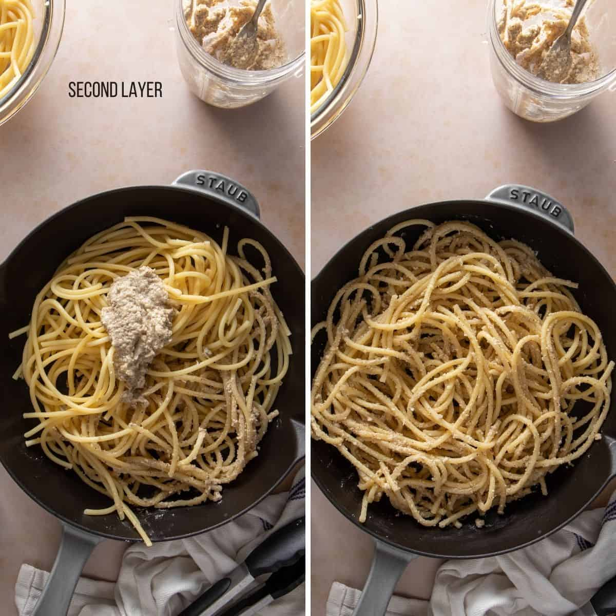 Collage showing secondlayer of pasta with the cheese sauce on it (before and after mixing)