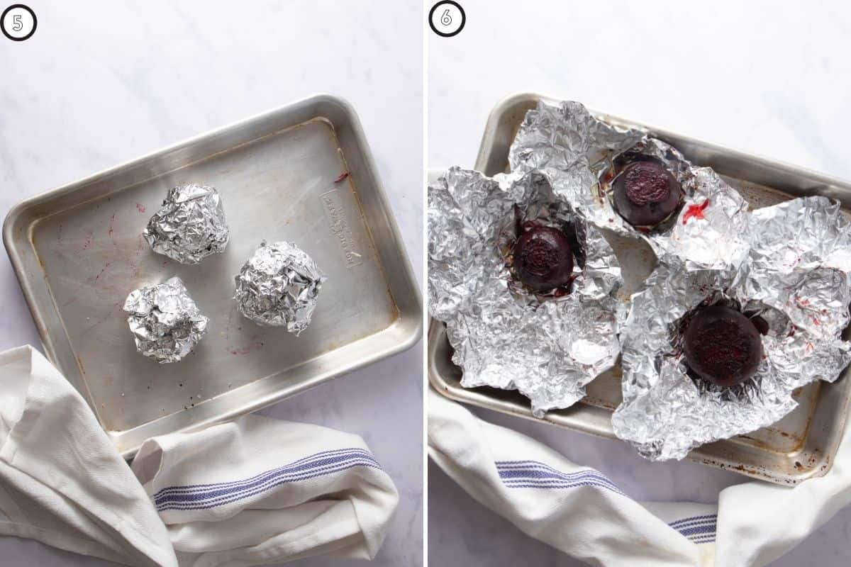 Two step collage showing how to cook beets in foil packets