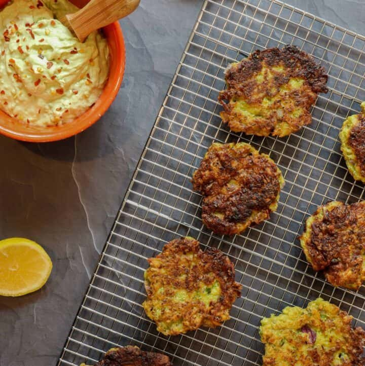 Healthy Brussels sprouts and potato latkes