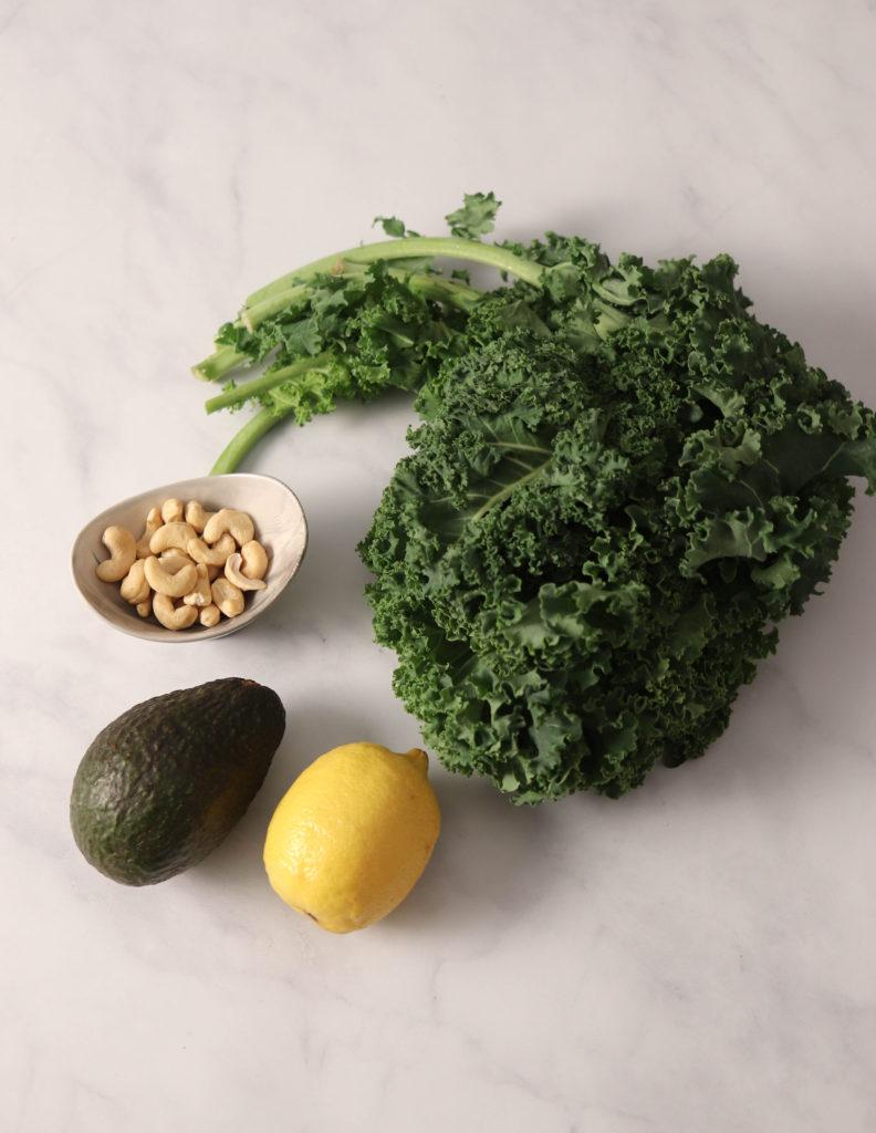 Creamy vegan kale pesto ingredients