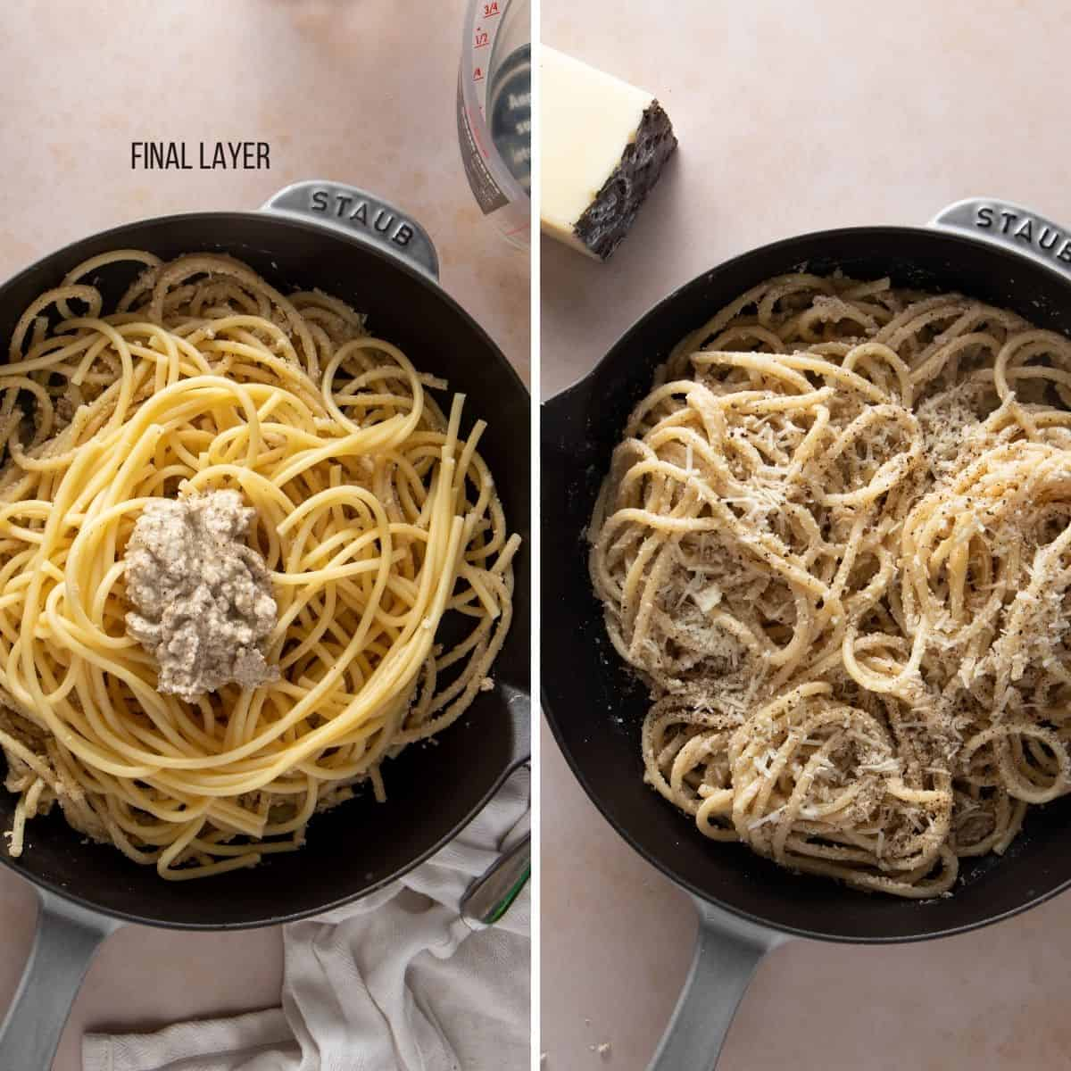 Final step of layering show fully mixed cacio e pepe (before and after)