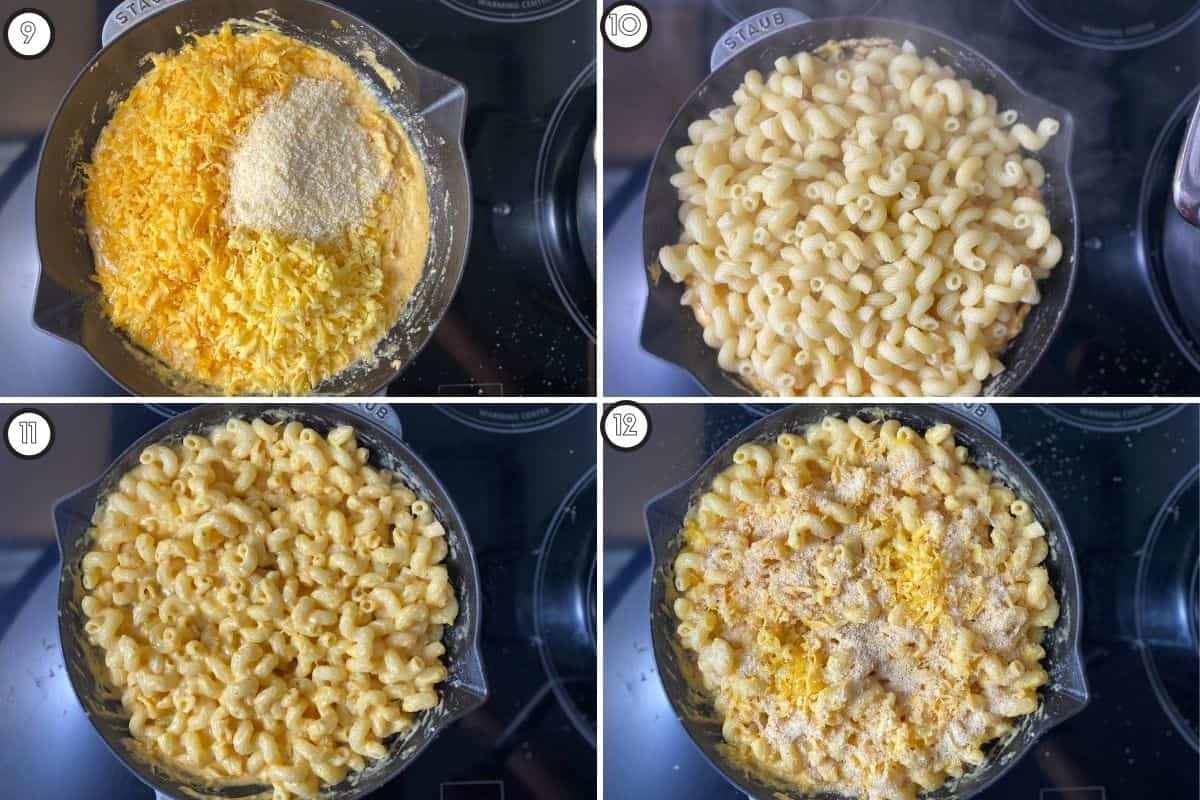 Four step collage showing cheese sauce and pasta layering
