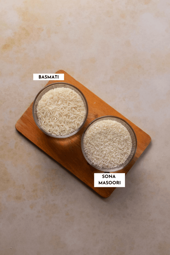 Labeled picture of basmati and Sona Masoori rice used in Indian cooking