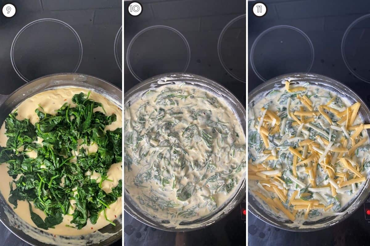 Three panel collage showing final steps of adding spinach and cheese