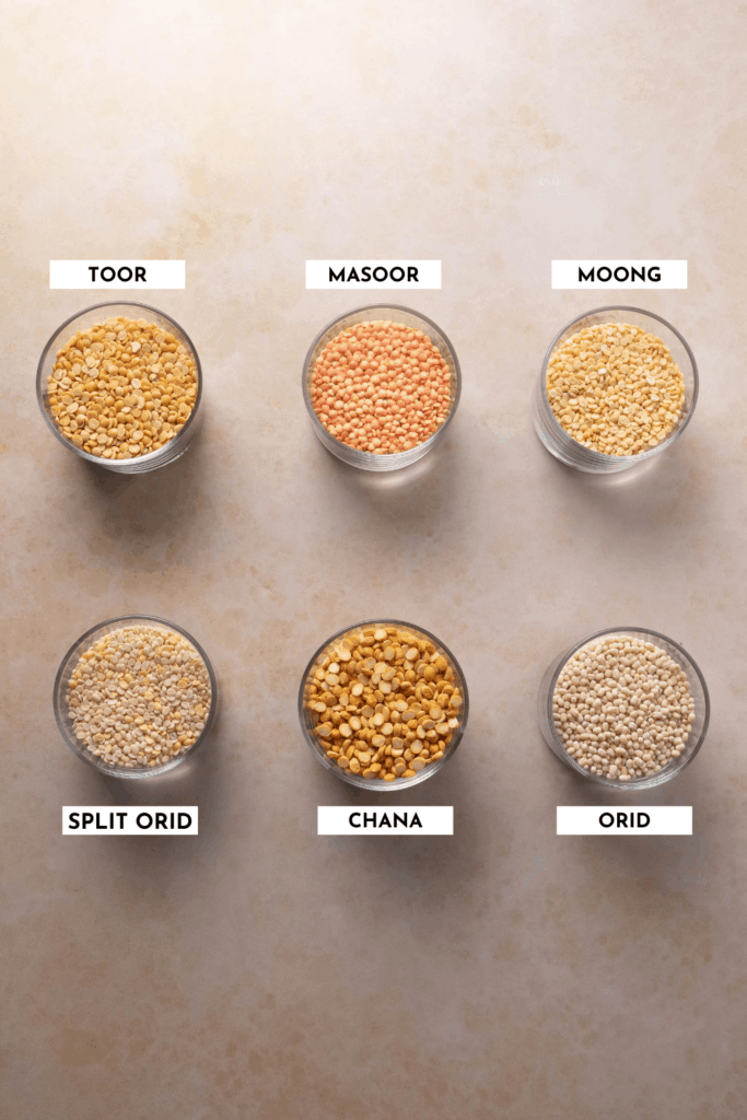 Labeled list of different types of lentils showing the physical difference