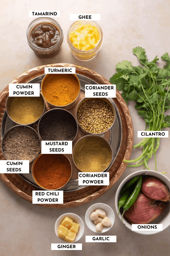 Labeled list of spices and aromatics needed - details in the actual post