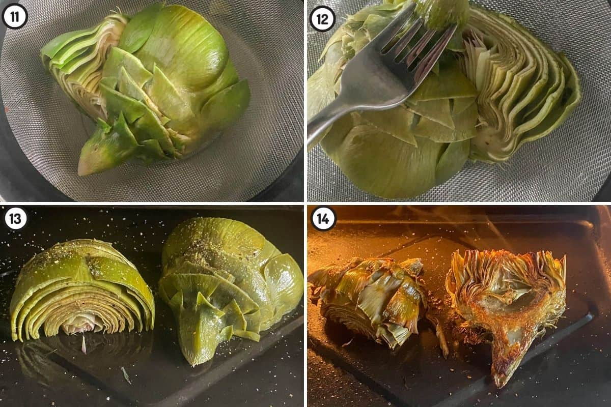 Four panel collage showing how to parboil, season, and air fry artichokes