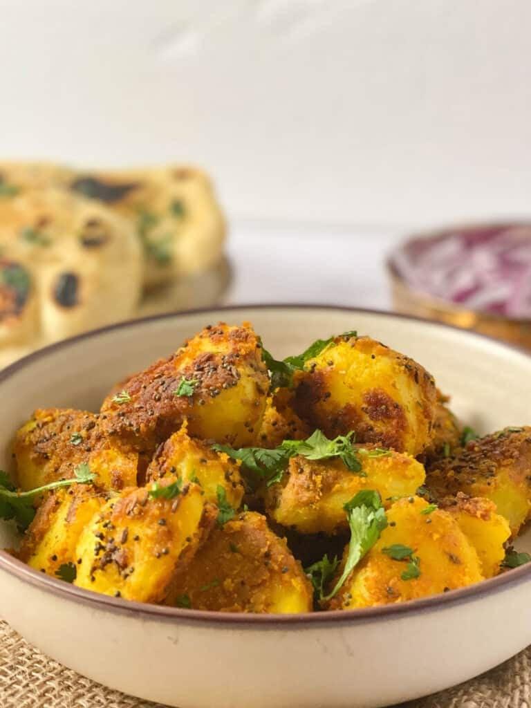 Side view showing crispy potatoes