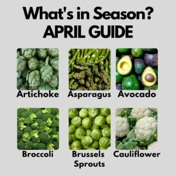 Snippet of collage showing April seasonal produce - refer to post for the list