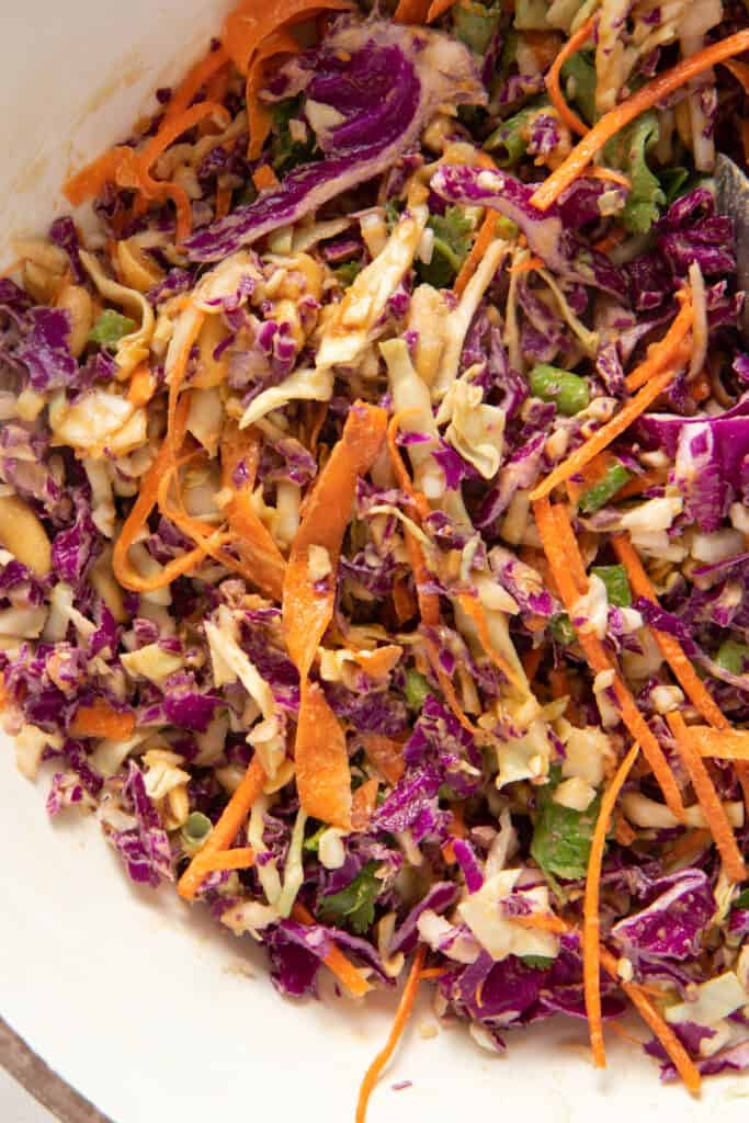Close up the slaw to show texture and different components