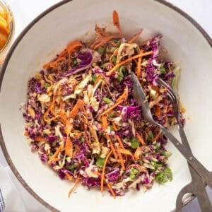 Mixed slaw in a large bowl with an empty bowl of peanut dressing on the side (with tongs)