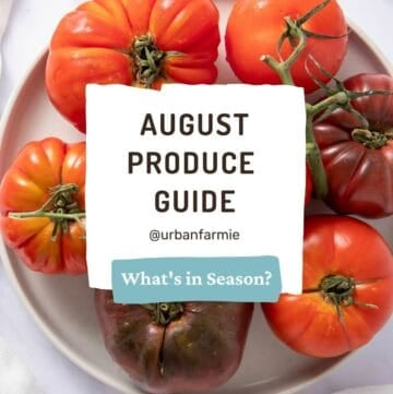 Picture of tomatoes with text overlay that says August Produce Guide