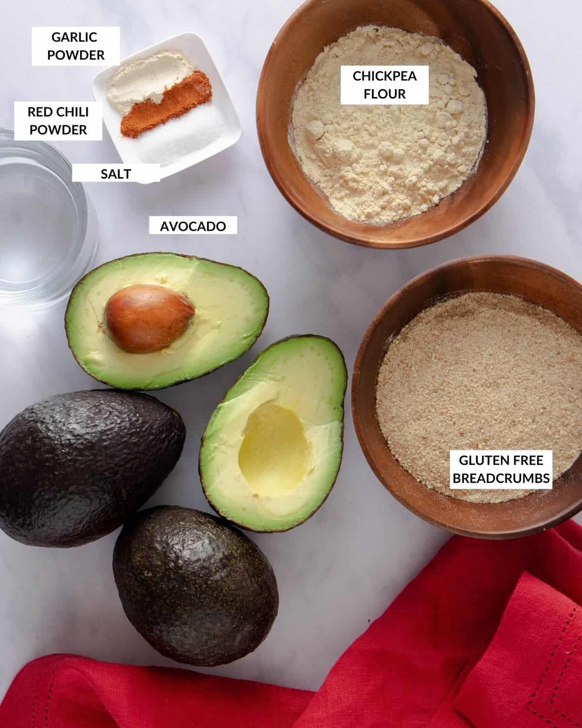 Labeled ingredient list for avocado fries - check recipe card for details!