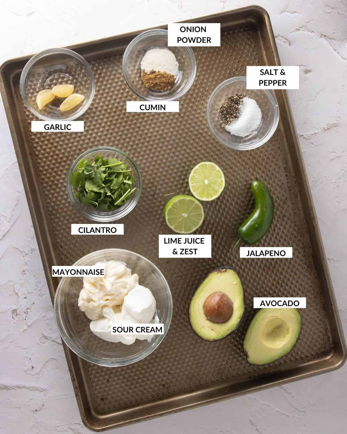 Labeled ingredient list for dressing - check recipe card for details