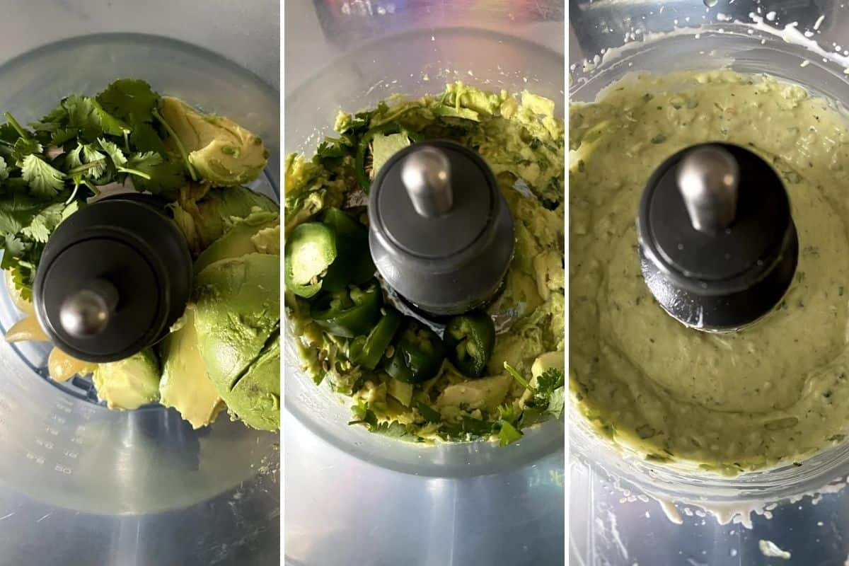 Three panel collage showing ingredients added to food processor, and final dressing