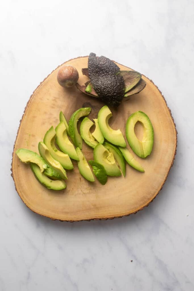 Thinly sliced avocados