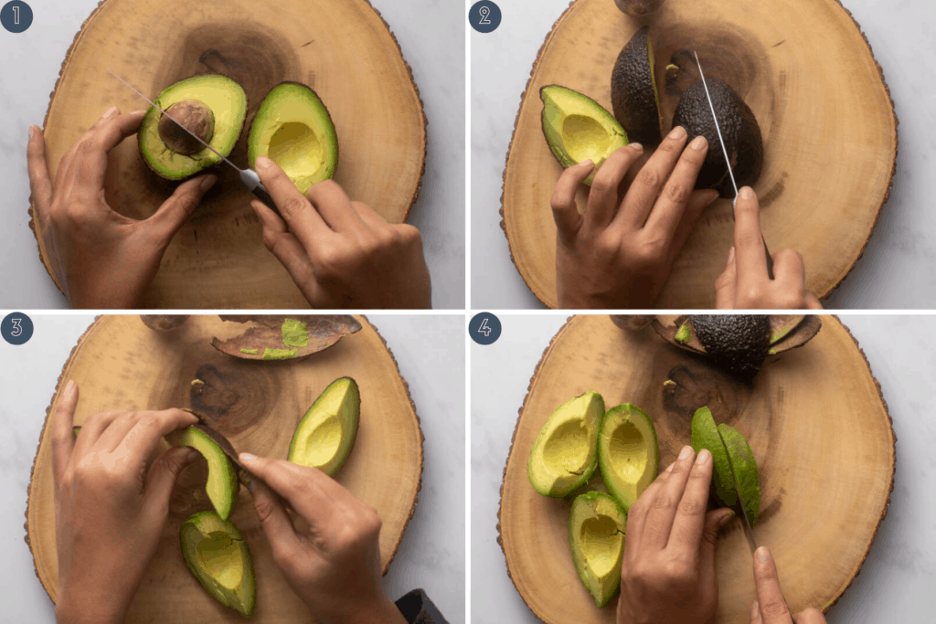 Four step process for slicing avocados in a perfect way for a summer salad
