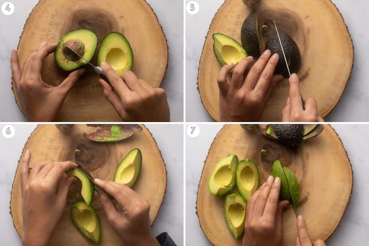 Four step collage showing how to slice avocados evenly