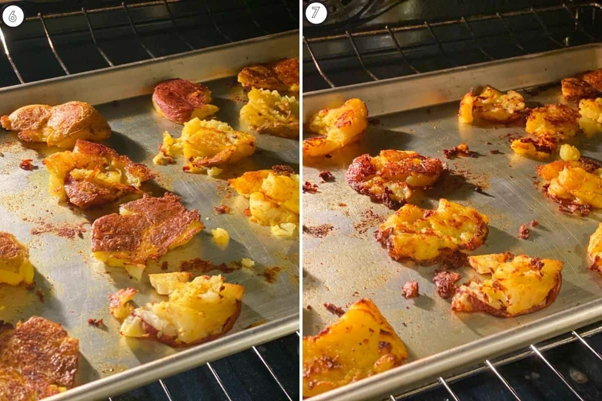Two step collage showing potatoes on baking sheet before and after baking / air-frying