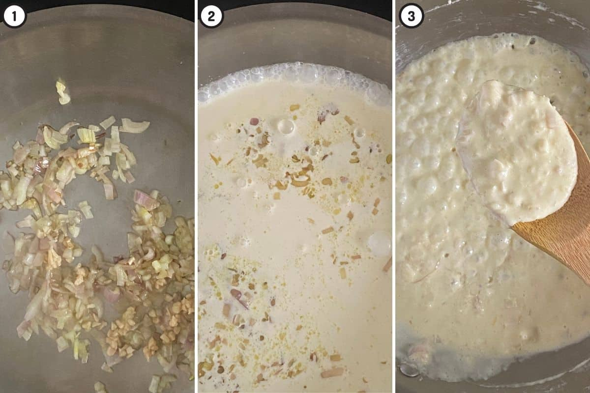 Three step collage showing how to start making cream sauce for recipe