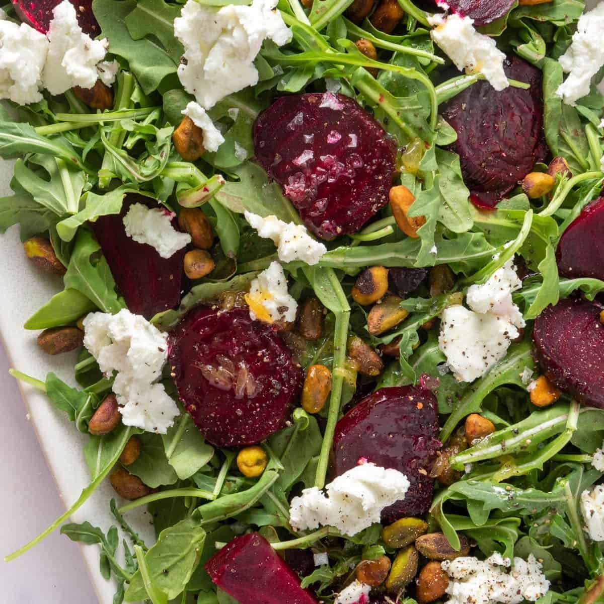 Closeup shot of beet salad on platter