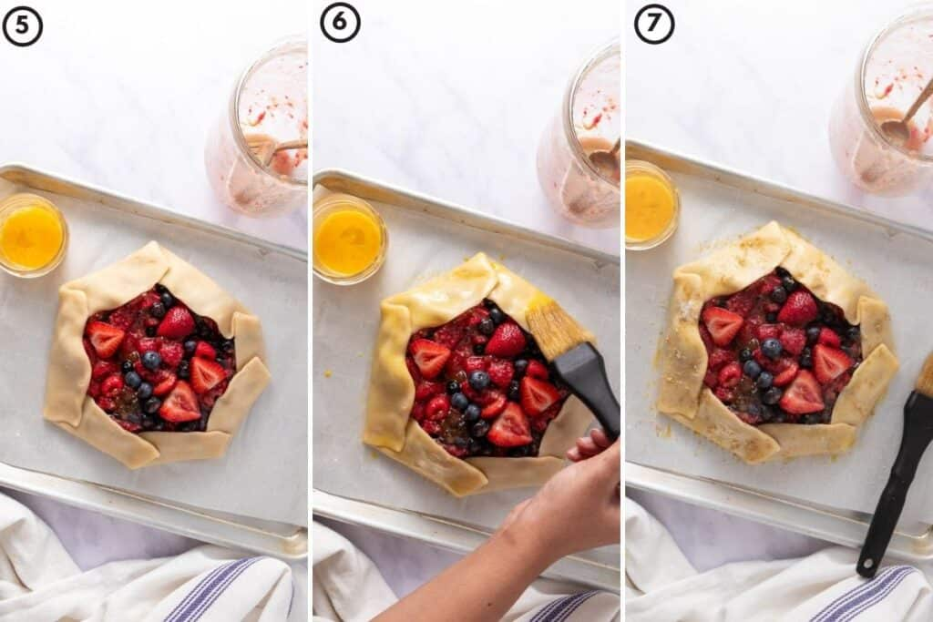 Three step collage showing egg wash on berry galette