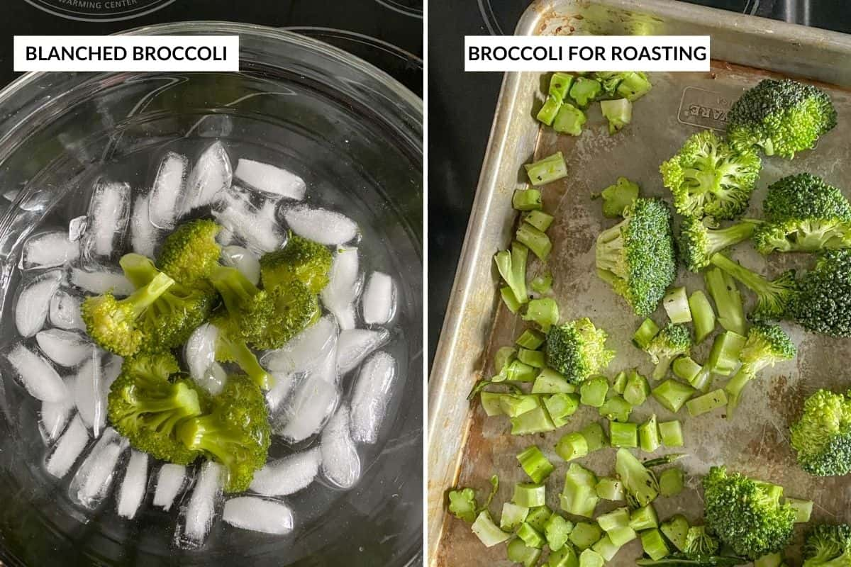 Two panel collage showing blanched broccoli, and broccoli that's about to be roasted (on baking sheet)