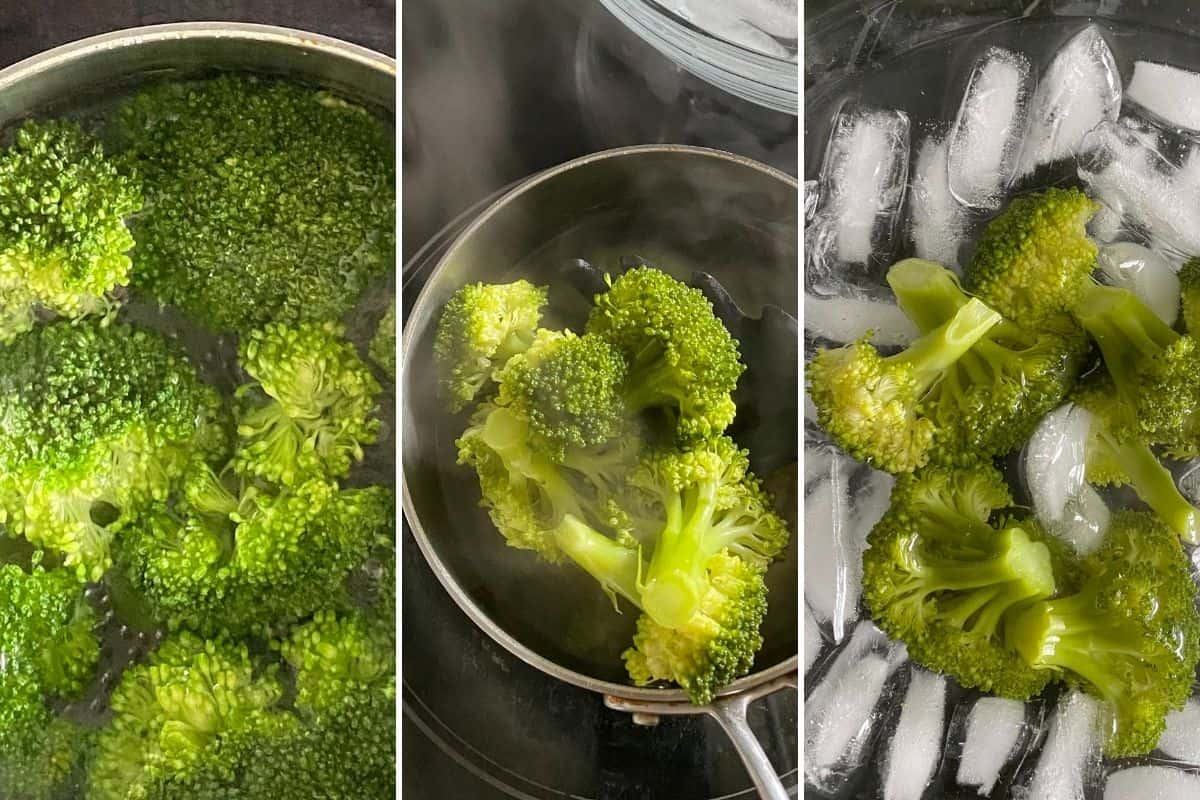 Three step collage showing how to blanch broccoli by boiling first, then transferring into an ice bath