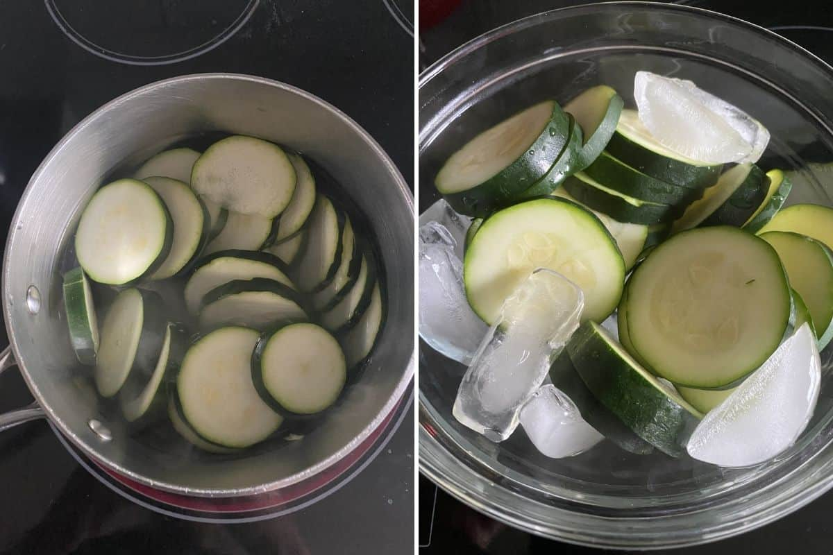 Two panel collage showing how to boil zucchini then drop them in ice bath