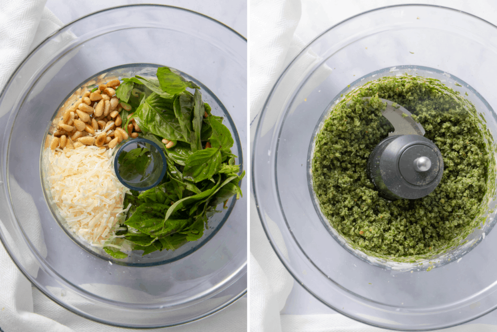 Collage of food processor showing before and after pictures of how ingredients are mixed to form pesto