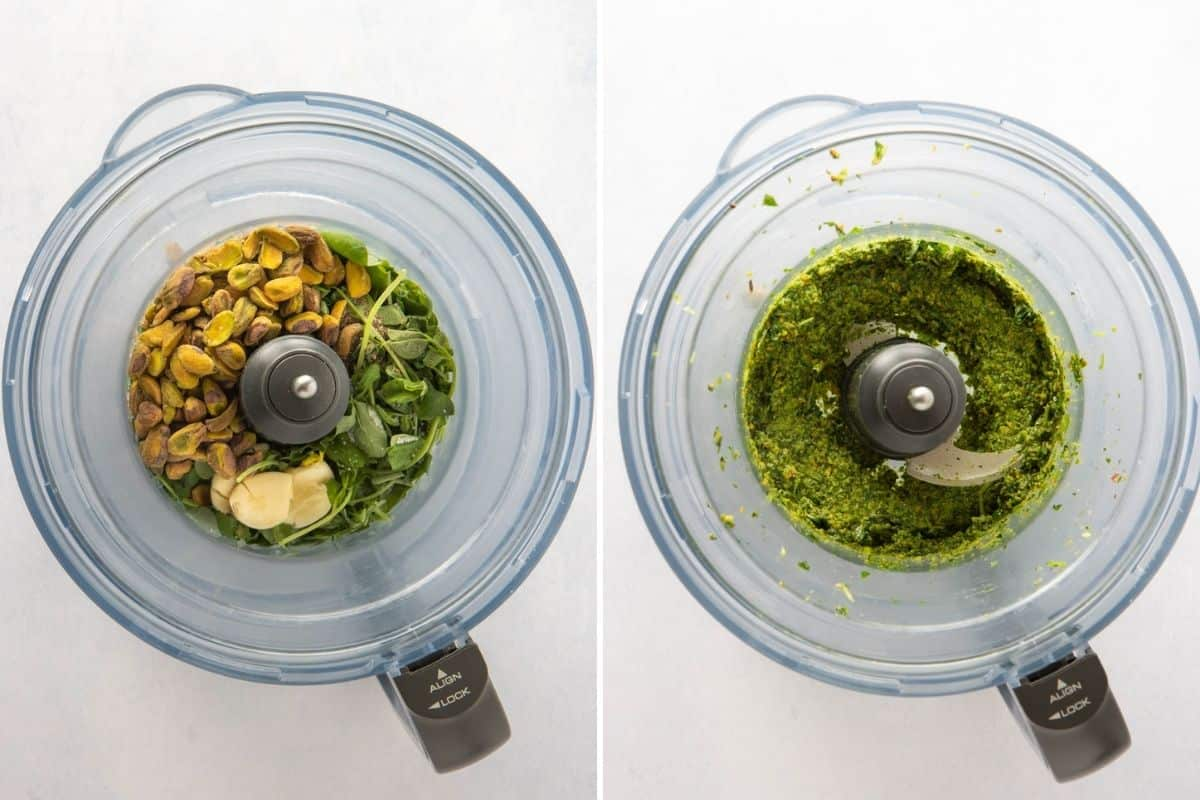 Before and after collage showing how pea shoot pesto is made in food processor