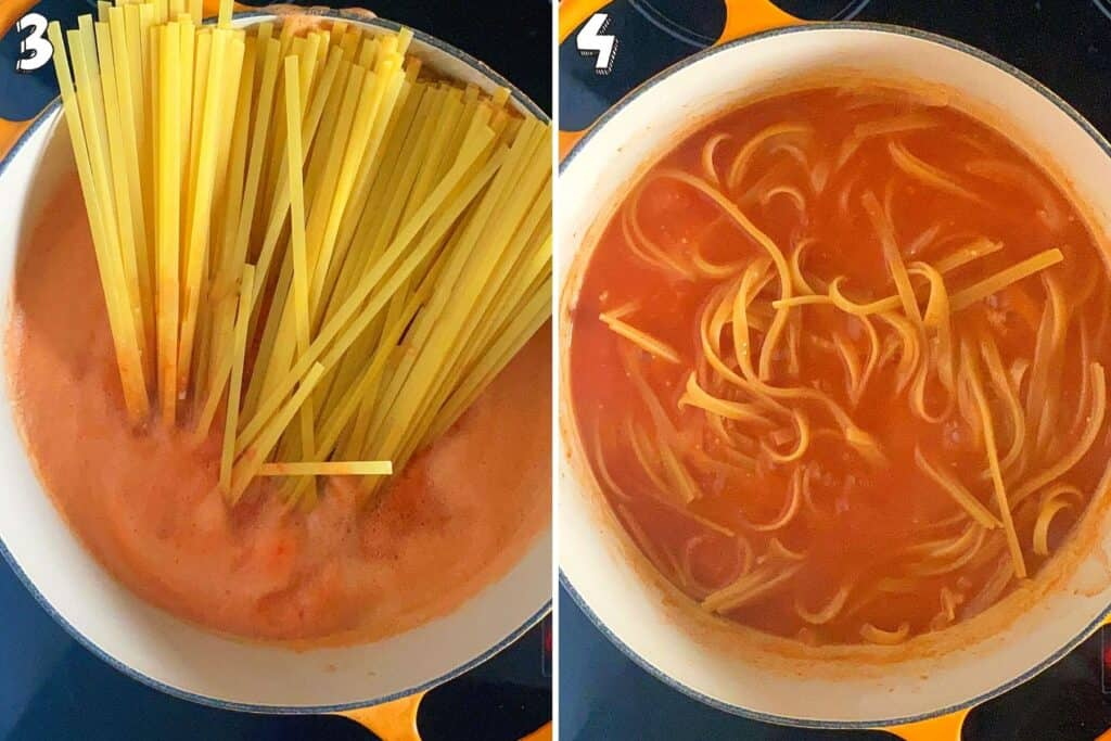 Collage showing the pasta cooking in one pot
