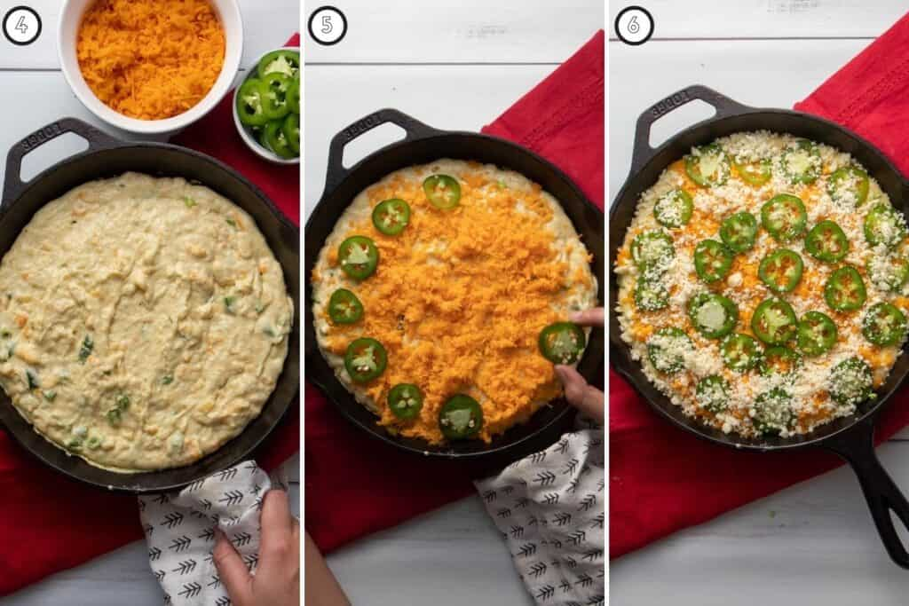Three step collage showing cornbread toppings
