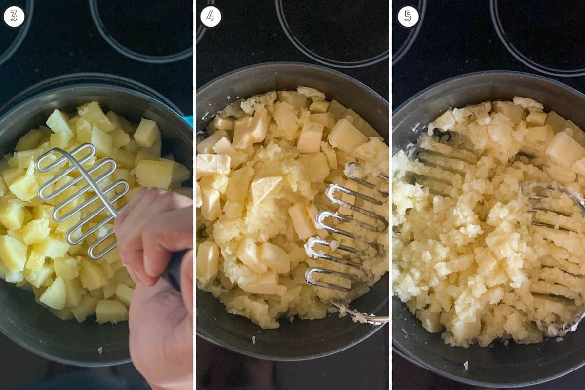 Three step collage showing before and after of mashing