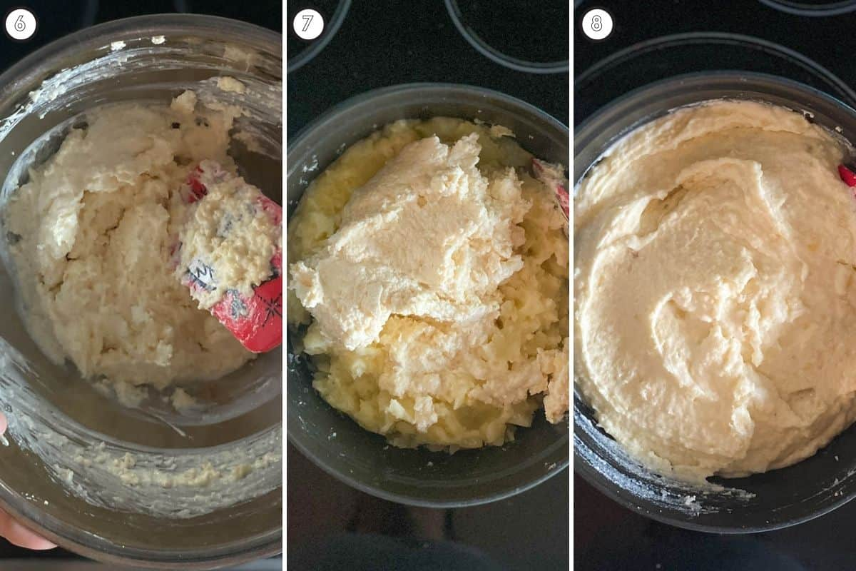 Three step collage showing addition of cheese and mixing in