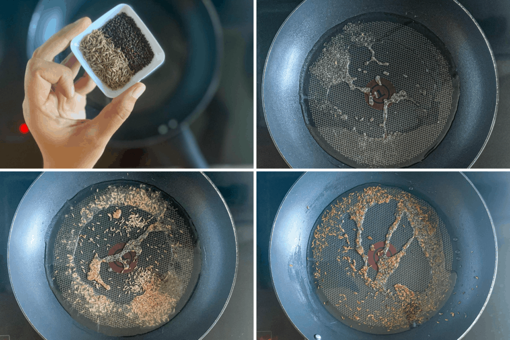 Four step collage showing toasting of mustard seeds and cumin seeds - if using cumin powder, skip this step
