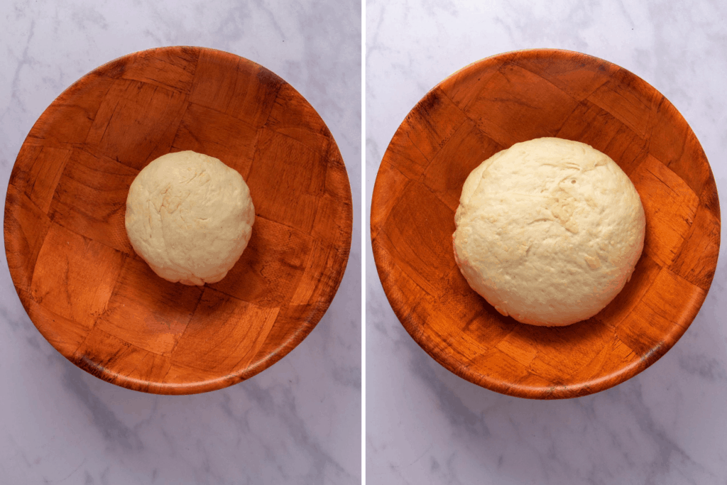 Collage showing how dough doubles in size when you let it rise for an hour