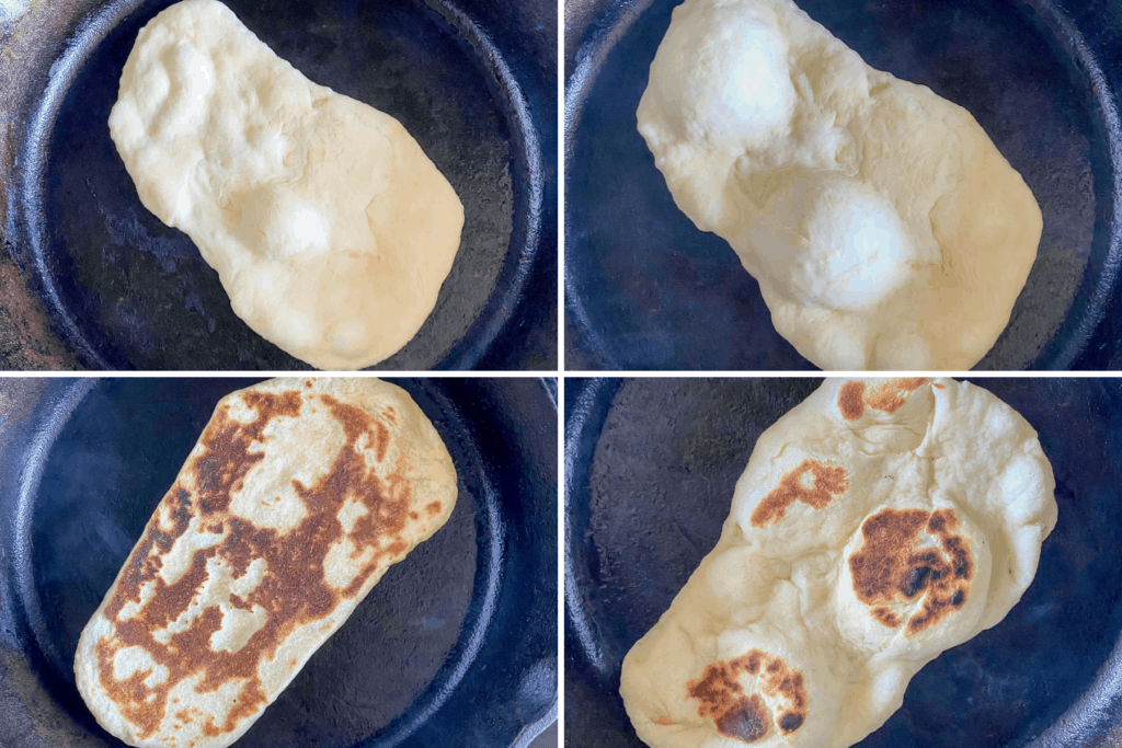 Four step collage showing the first set of bubbles before you cover the naan, the increase in bubbles after cooking it for the first 30-45 seconds, the browned back once you flip it, and then the charred spots when you flip it the last time
