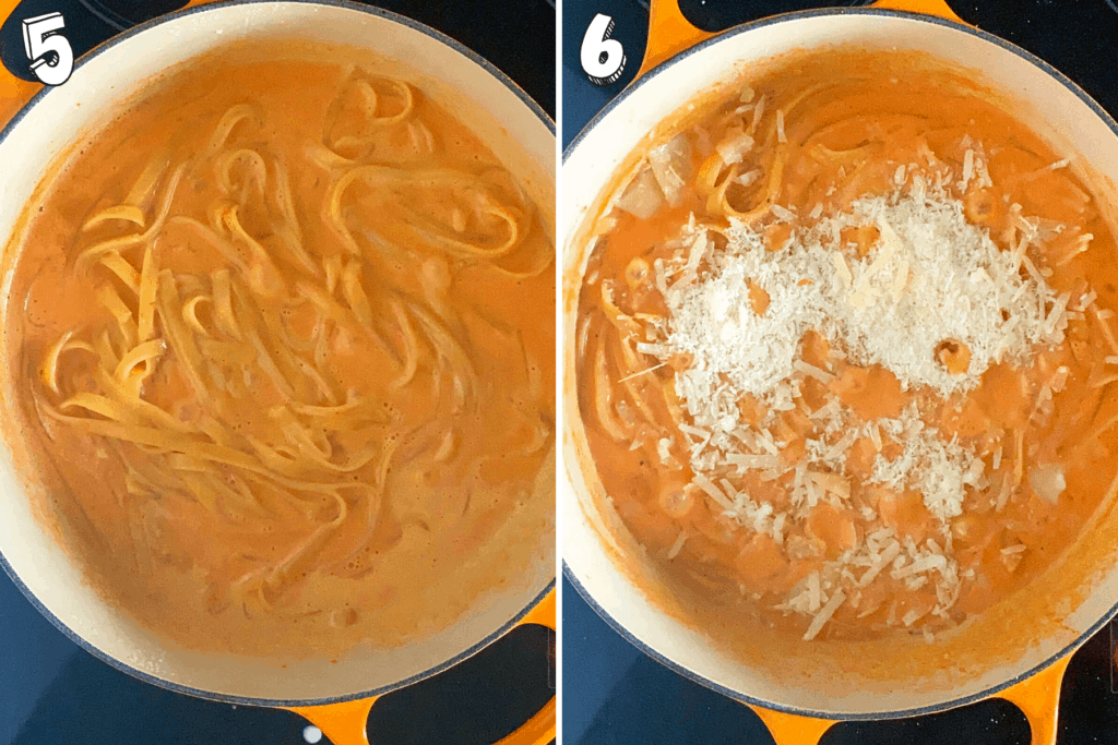 Final two steps of collage showing cooked pasta and Parmesan added