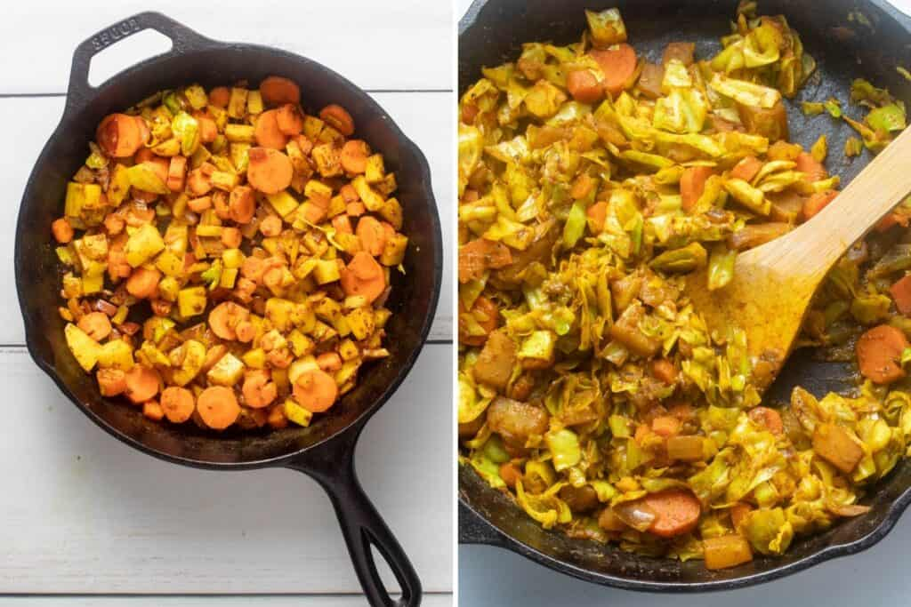 Collage showing golden hues of root vegetables, and finally adding cabbage to dish