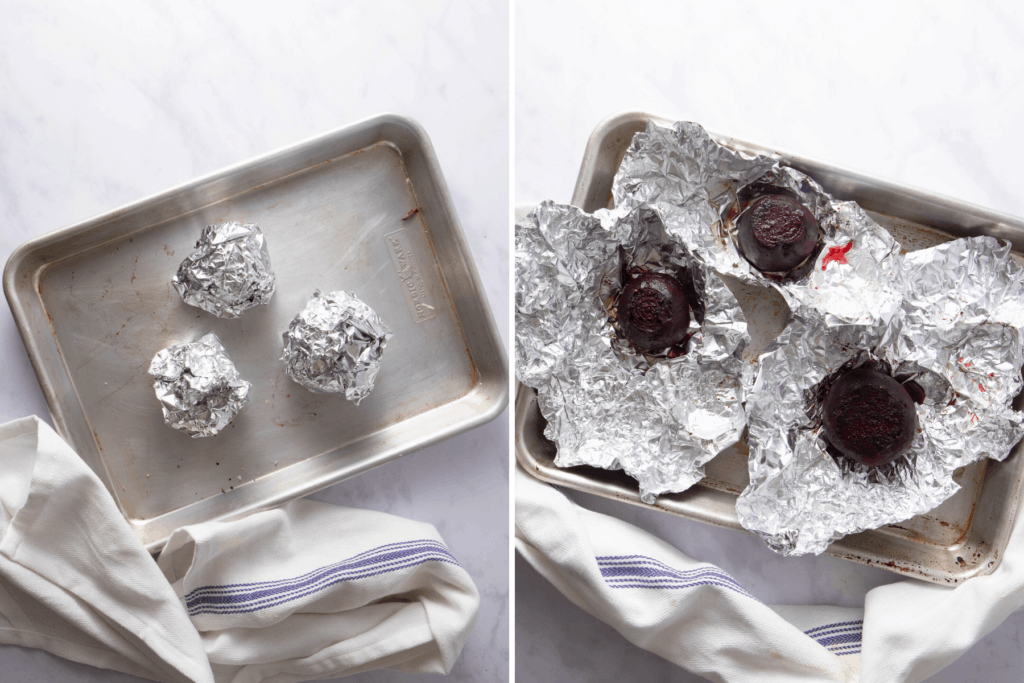 Before and after pictures showing roasted beets