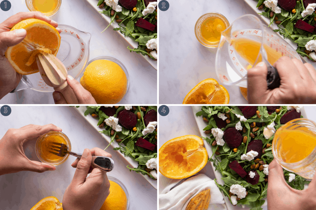Four step process showing grapefruit juice, addition to olive oil, whisking with fork and drizzling on salad
