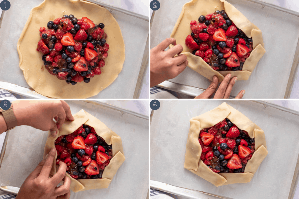 Four step process for folding berry galette - spoon filling into center, fold from one side, pinching along the way and then close the final fold