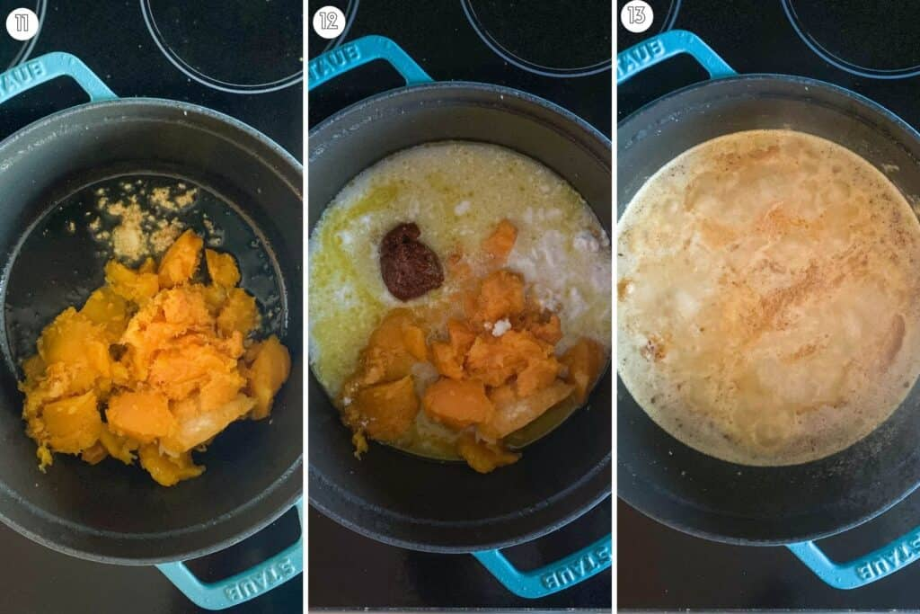 Three step collage showing how ingredients come together in the soup