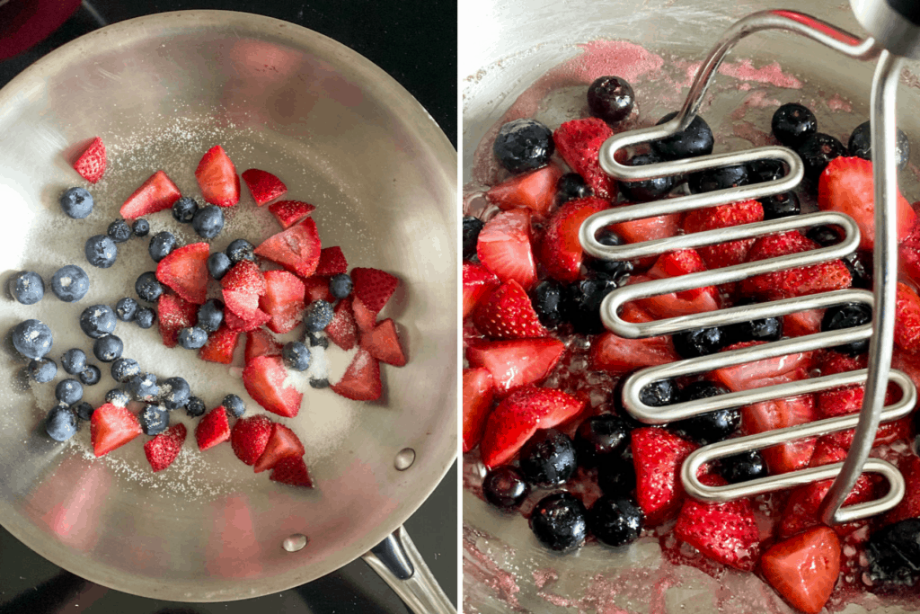 Collage showing pan with berries and sugar followed by crushing