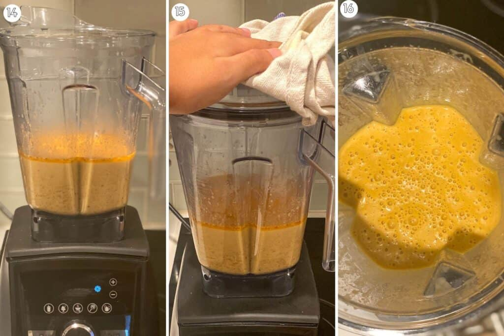 Three step collage showing how to use a blender to puree hot soup