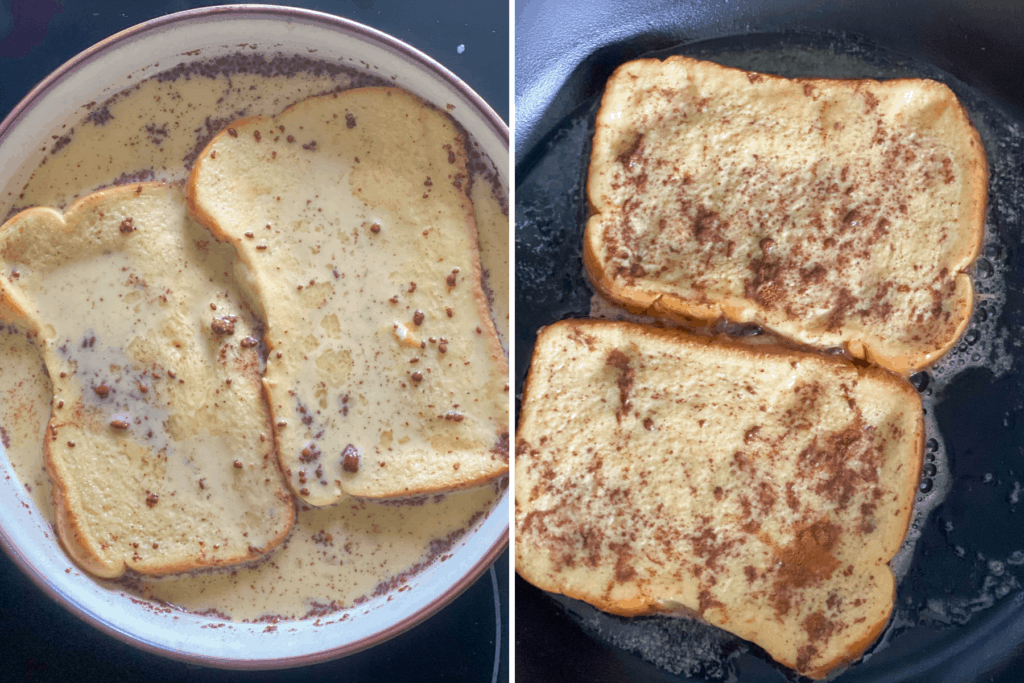 Collage showing bread soaked in custard for French toast and slices in pan