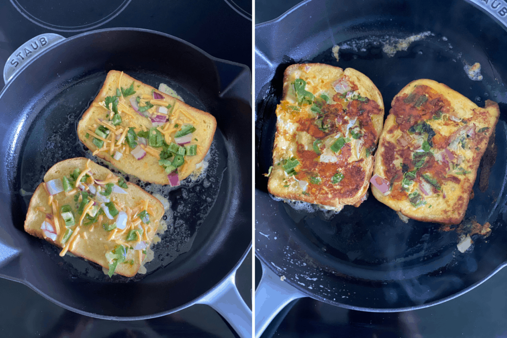 Collage showing bombay toast being cooked on skillet and cooked side