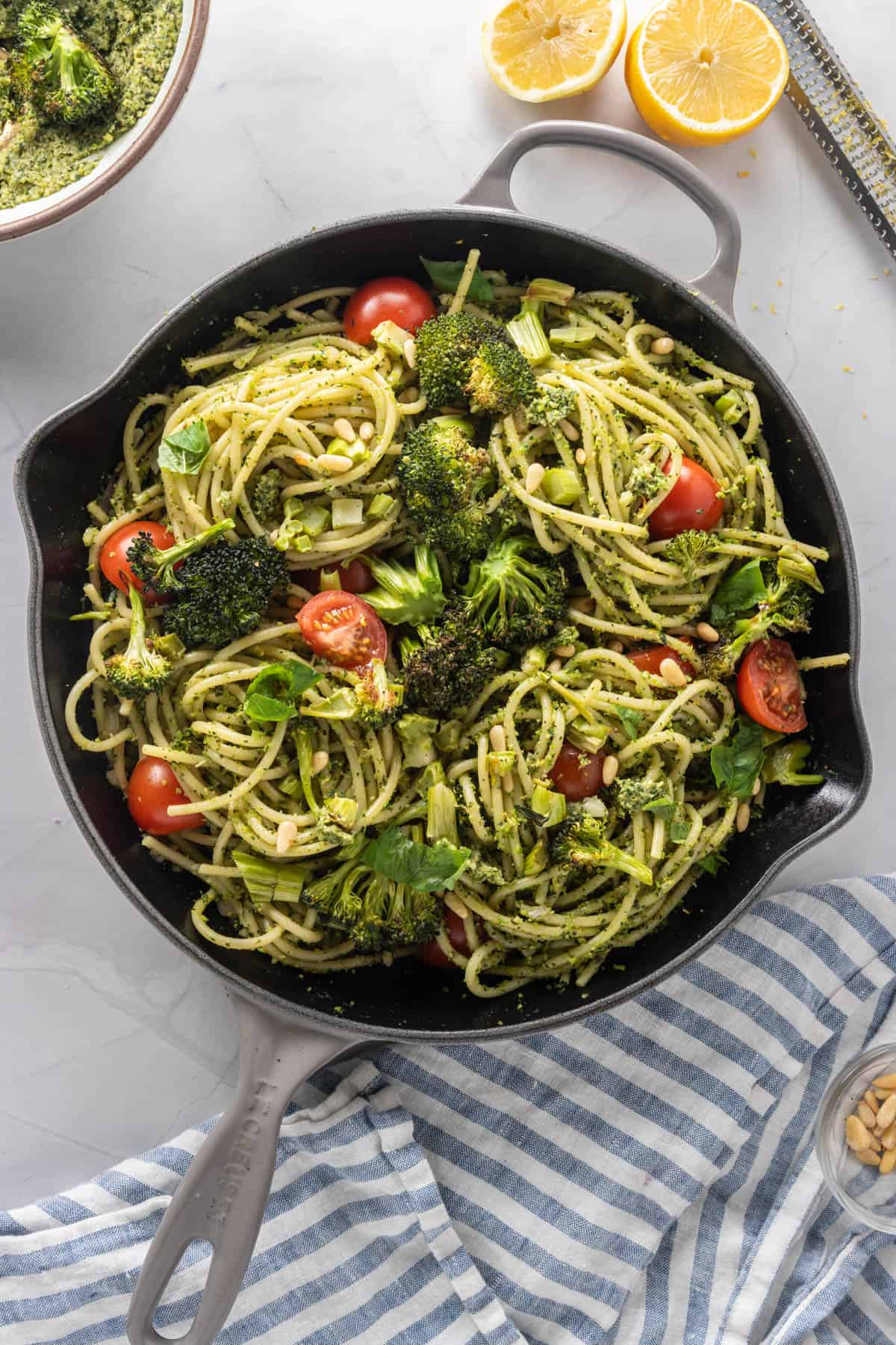 Skillet with fully assembled pasta